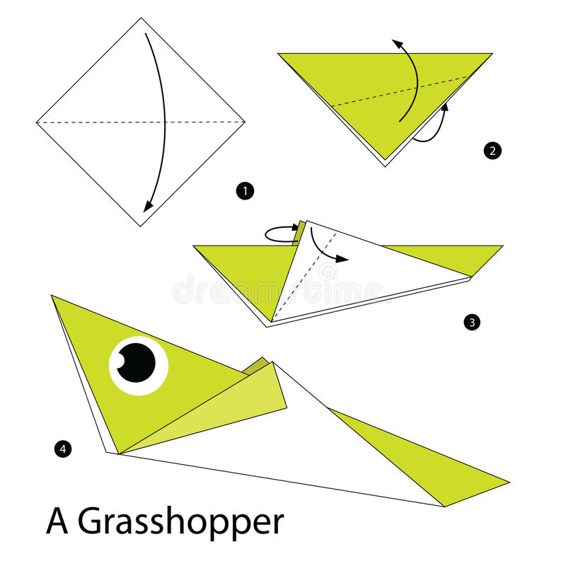 Instructions étape-par-étape comment faire à origami une sauterelle illustration stock