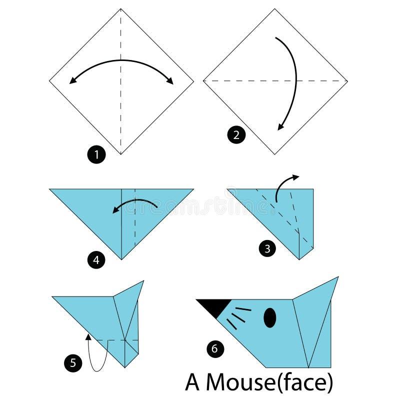 Instructions étape-par-étape comment faire à origami une souris illustration de vecteur
