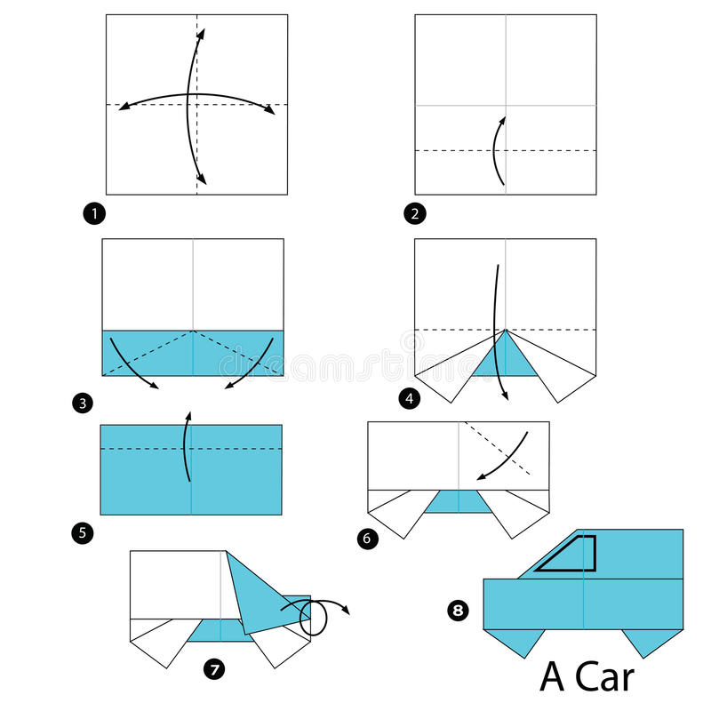 Instructions étape-par-étape comment faire à origami une voiture illustration stock