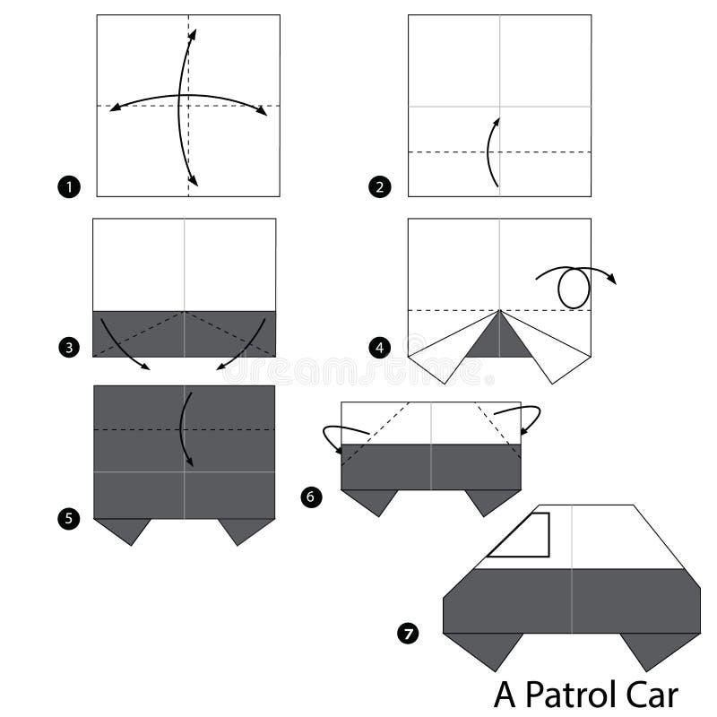 Instructions étape-par-étape comment faire à origami une voiture de patrouille illustration stock
