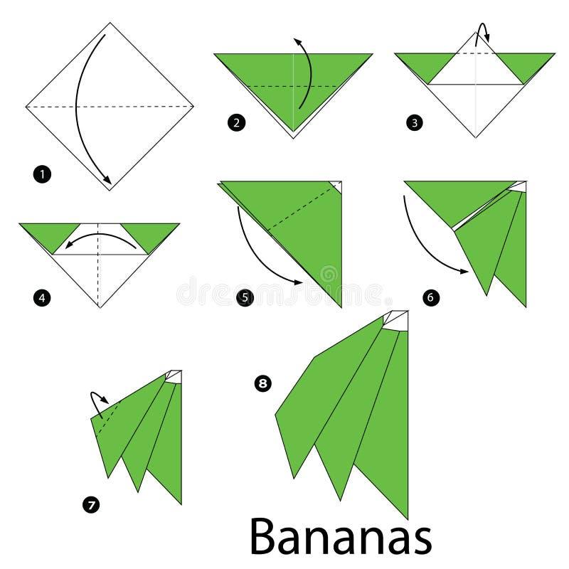 Instructions étape-par-étape comment faire des bananes d'origami illustration de vecteur