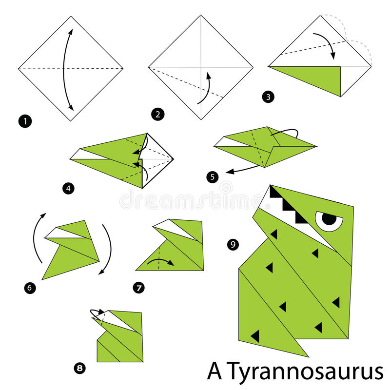 Instructions étape-par-étape comment faire l'origami un dinosaure illustration stock