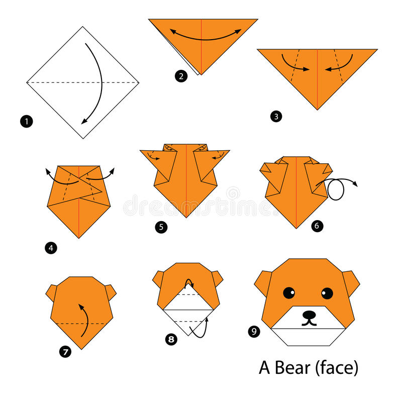 Instructions étape-par-étape comment faire l'ours d'origami illustration de vecteur