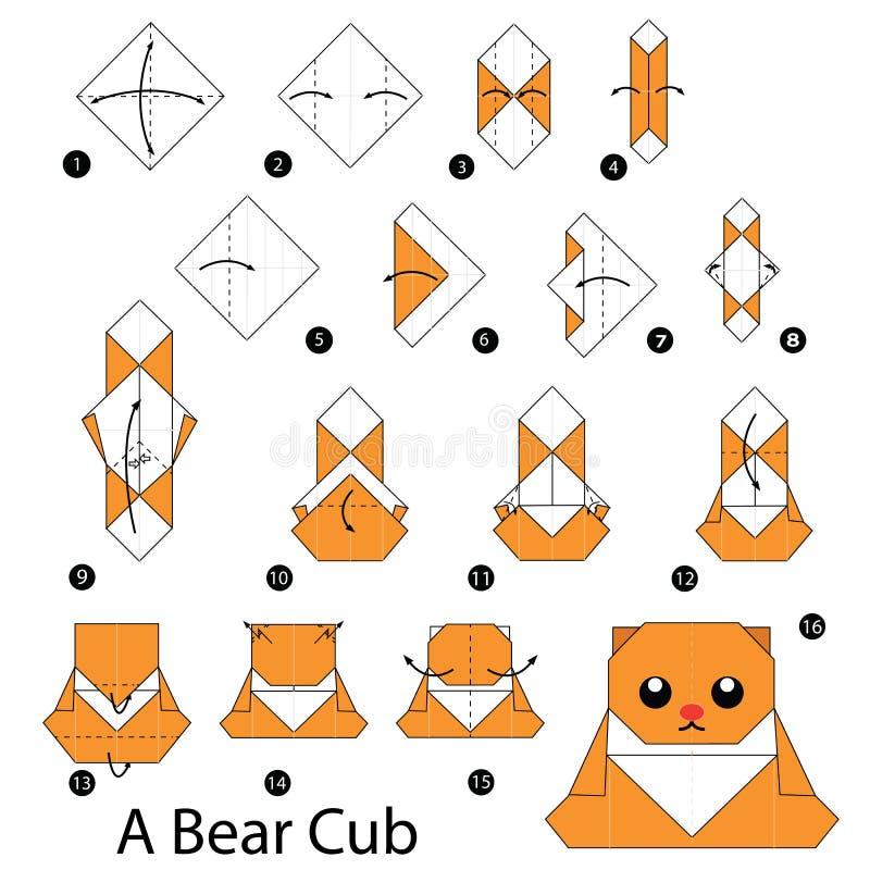 instructions tape par tape comment faire l 39 ours de l 39 origami a illustration de vecteur image. Black Bedroom Furniture Sets. Home Design Ideas