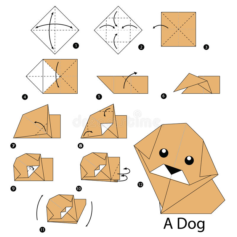 Instructions étape-par-étape comment faire le chien d'origami illustration de vecteur