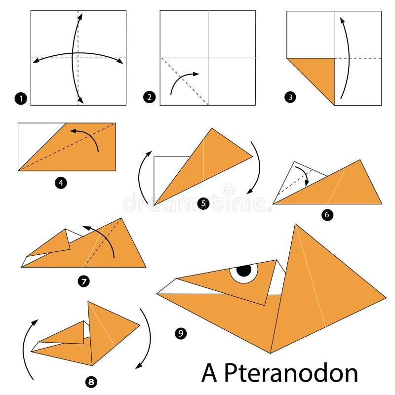 Instructions étape-par-étape comment faire le dinosaure de l'origami A illustration libre de droits