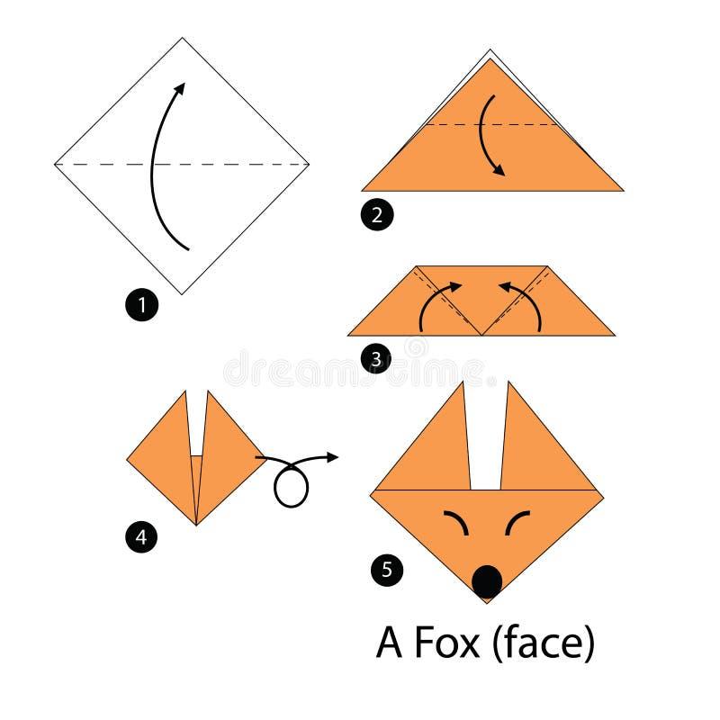 Instructions étape-par-étape comment faire le Fox de l'origami A illustration de vecteur