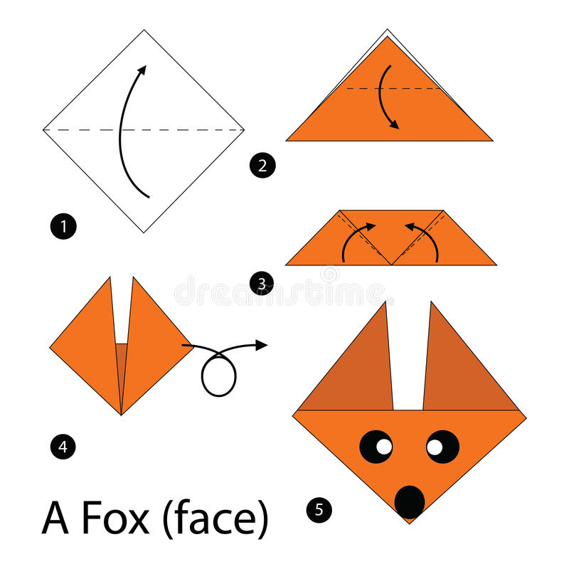 Instructions étape-par-étape comment faire le Fox de l'origami A illustration libre de droits