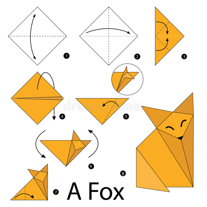 instructions tape par tape comment faire le fox de l 39 origami a illustration de vecteur. Black Bedroom Furniture Sets. Home Design Ideas