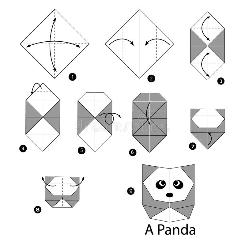 Instructions étape-par-étape comment faire le panda d'origami illustration de vecteur