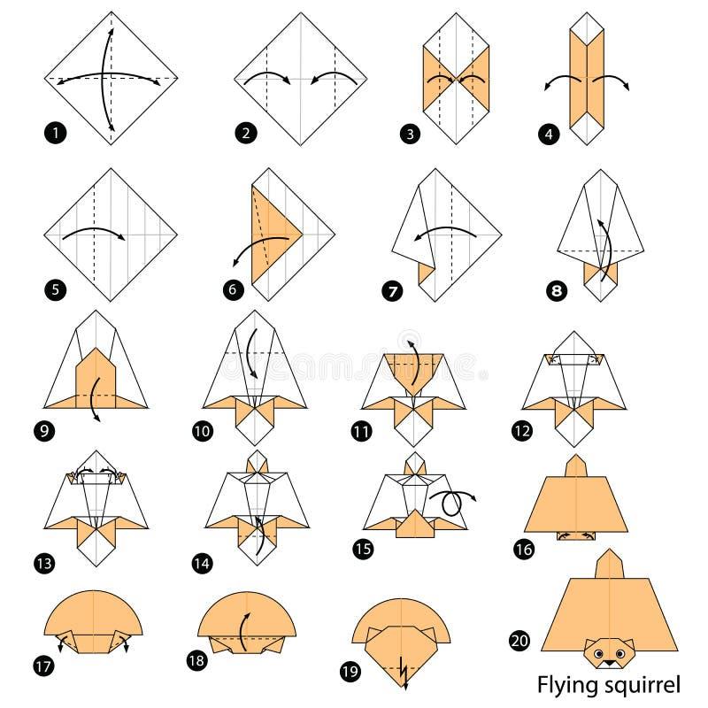 Instructions étape-par-étape comment faire à origami un écureuil de vol illustration de vecteur