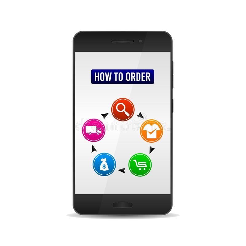 Instructions de achat en ligne, comment passer commande Avec l'illustration réaliste de vecteur de téléphone portable illustration de vecteur