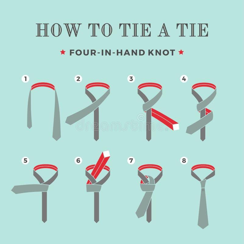 Instructions sur la façon dont attacher un lien sur le fond de turquoise des huit étapes Quatre noeuds disponibles Illustration d illustration stock