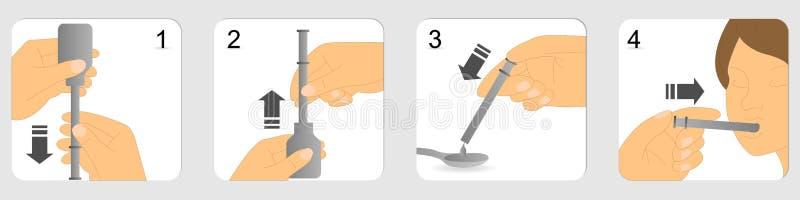 Instructions sur la façon dont donner les médecines liquides utilisant la seringue orale en plastique illustration de vecteur