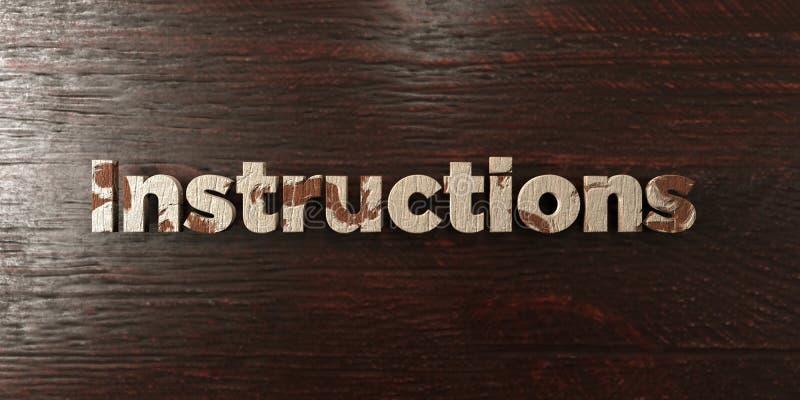 Instructions - titre en bois sale sur l'érable - image courante gratuite de redevance rendue par 3D illustration stock