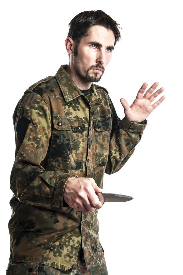 Instructor de la autodefensa con el cuchillo fotos de archivo libres de regalías