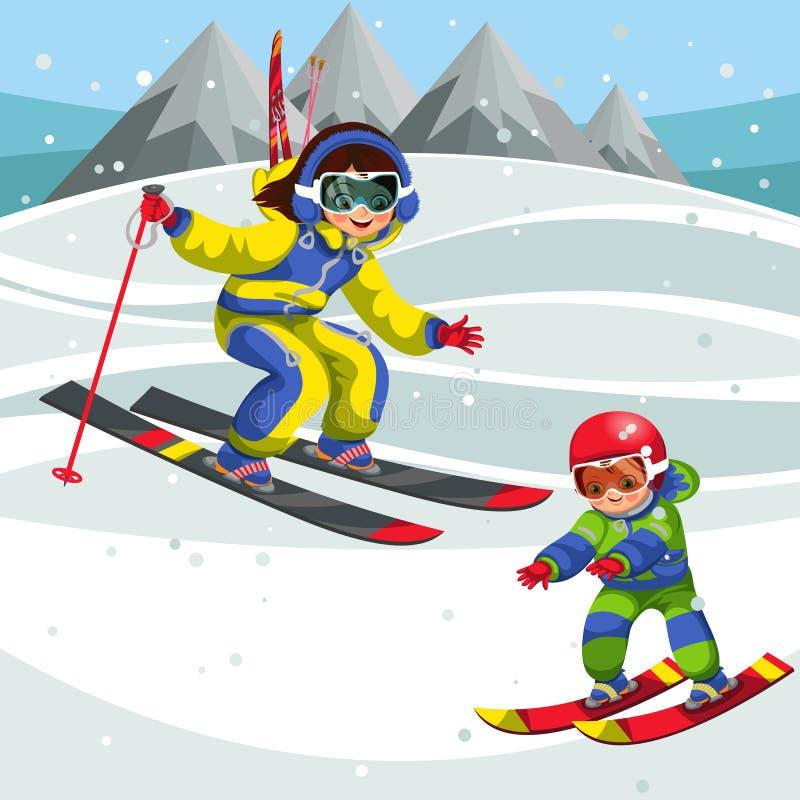 Instructor de la historieta que muestra a poco niño cómo esquiar apropiado ilustración del vector