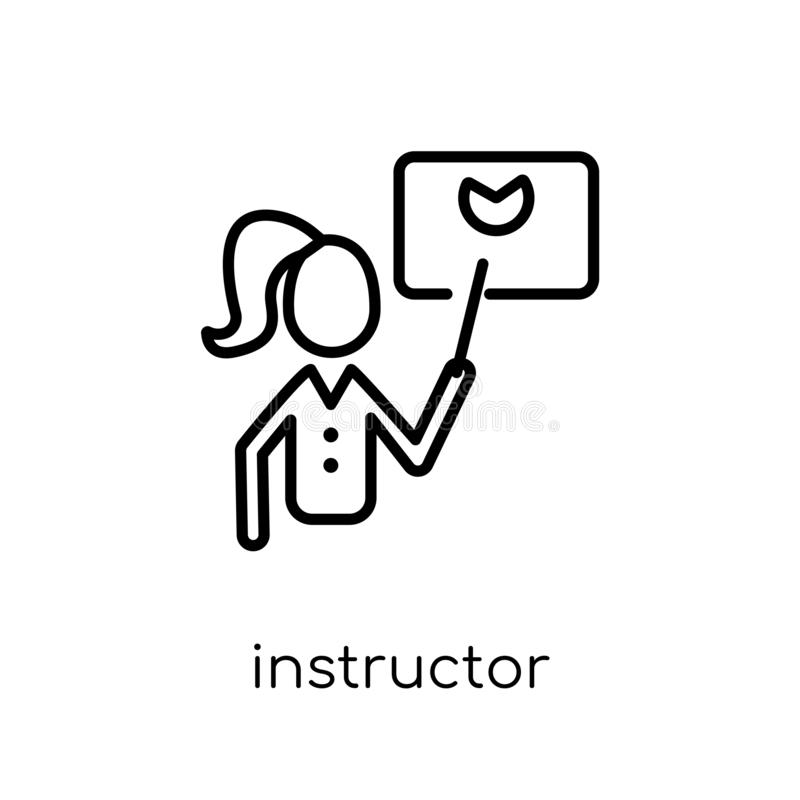 Instructor icon. Trendy modern flat linear vector Instructor icon on white background from thin line E-learning and education col vector illustration