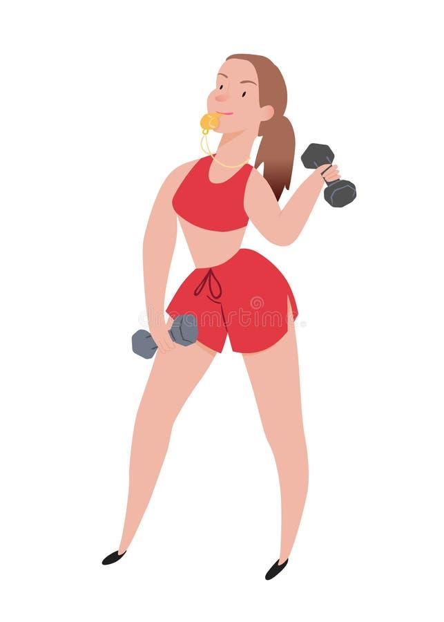 instructor Muchacha linda, deportista con el silbido amarillo, en pantalones cortos y sujetador de los deportes Ejemplo del vecto ilustración del vector
