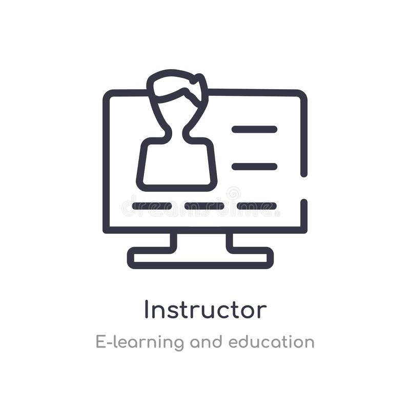 instructor outline icon. isolated line vector illustration from e-learning and education collection. editable thin stroke vector illustration