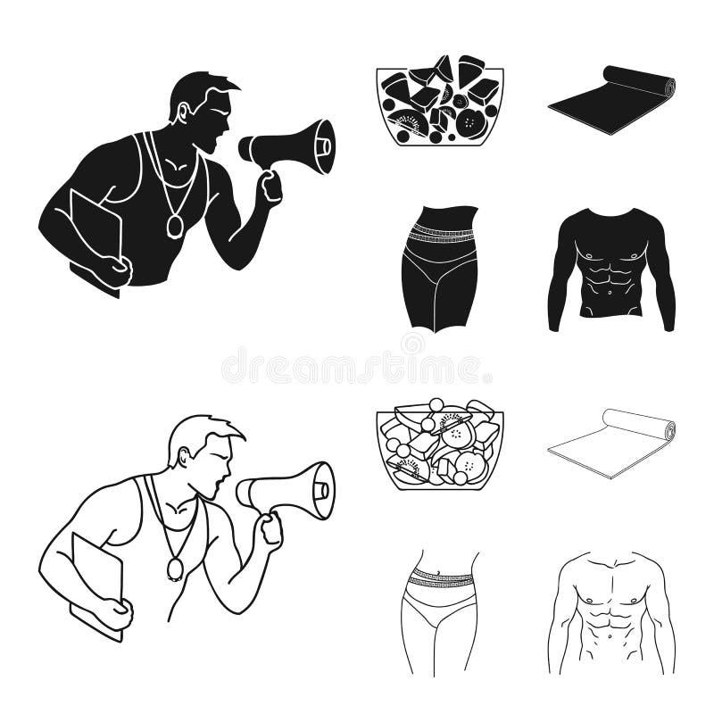 Instructor personal, ensalada de fruta, estera, iconos determinados en negro, acción de la colección de Fitnes de la cintura feme ilustración del vector