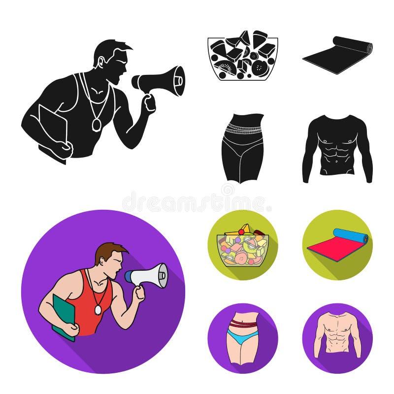 Instructor personal, ensalada de fruta, estera, iconos determinados de la colección de Fitnes de la cintura femenina en la acción stock de ilustración