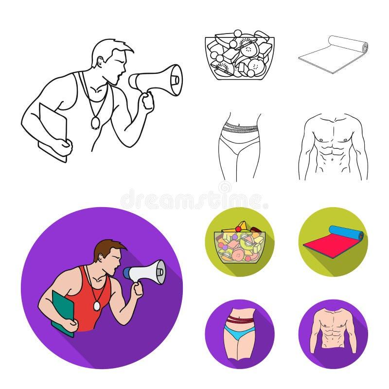Instructor personal, ensalada de fruta, estera, iconos determinados de la colección de Fitnes de la cintura femenina en el esquem libre illustration