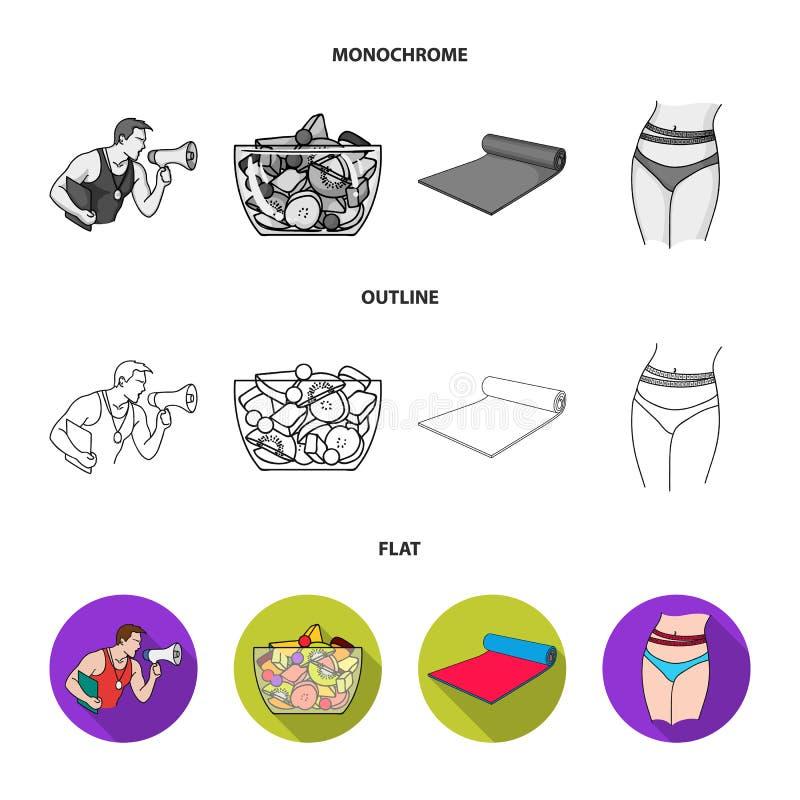Instructor personal, ensalada de fruta, estera, iconos determinados de la colección de Fitnes de la cintura femenina en el plano, libre illustration