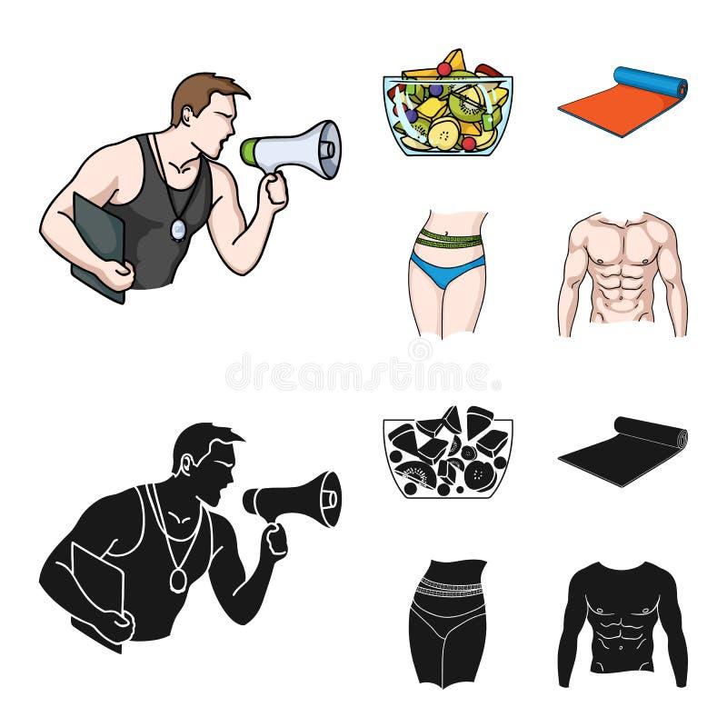 Instructor personal, ensalada de fruta, estera, iconos determinados de la colección de Fitnes de la cintura femenina en la histor ilustración del vector