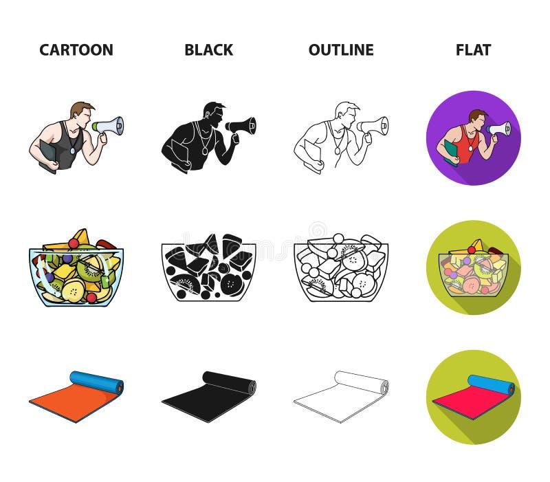 Instructor personal, ensalada de fruta, estera, iconos determinados de la colección de Fitnes de la cintura femenina en la histor libre illustration