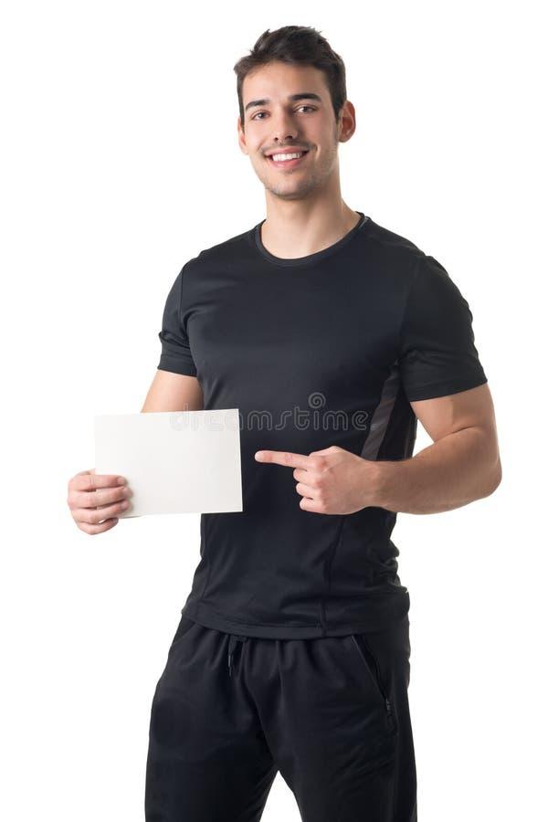Instructor personal Holding una tarjeta vacía imagen de archivo