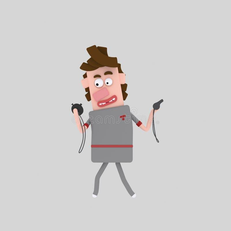 Instructor que lleva a cabo un cronómetro y un silbido 3D libre illustration