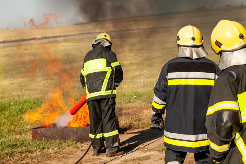 Instructor on a training fire stock image