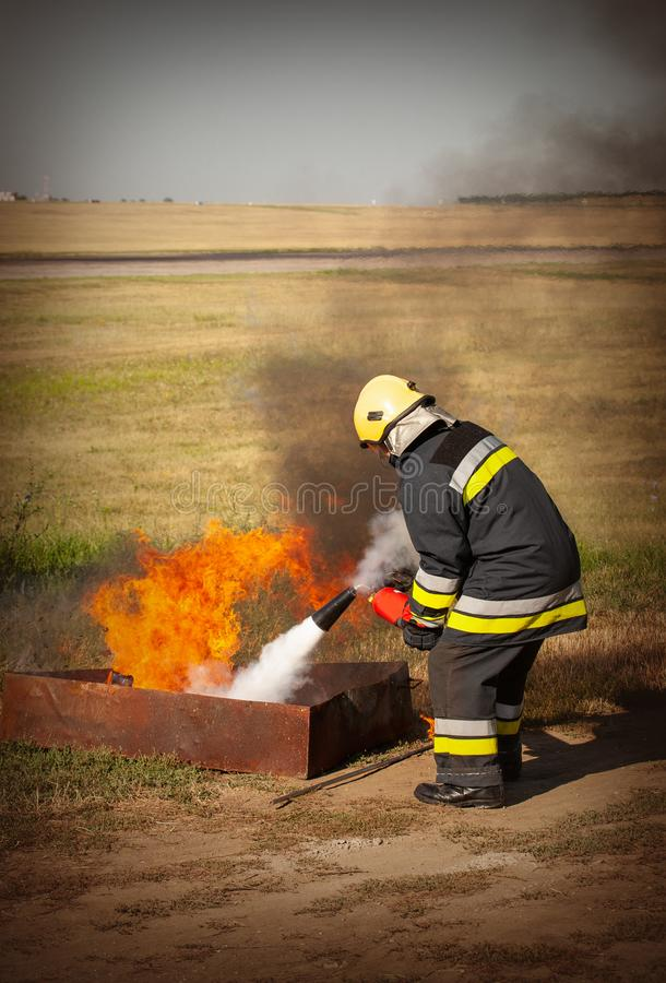 Instructor on a training fire royalty free stock image
