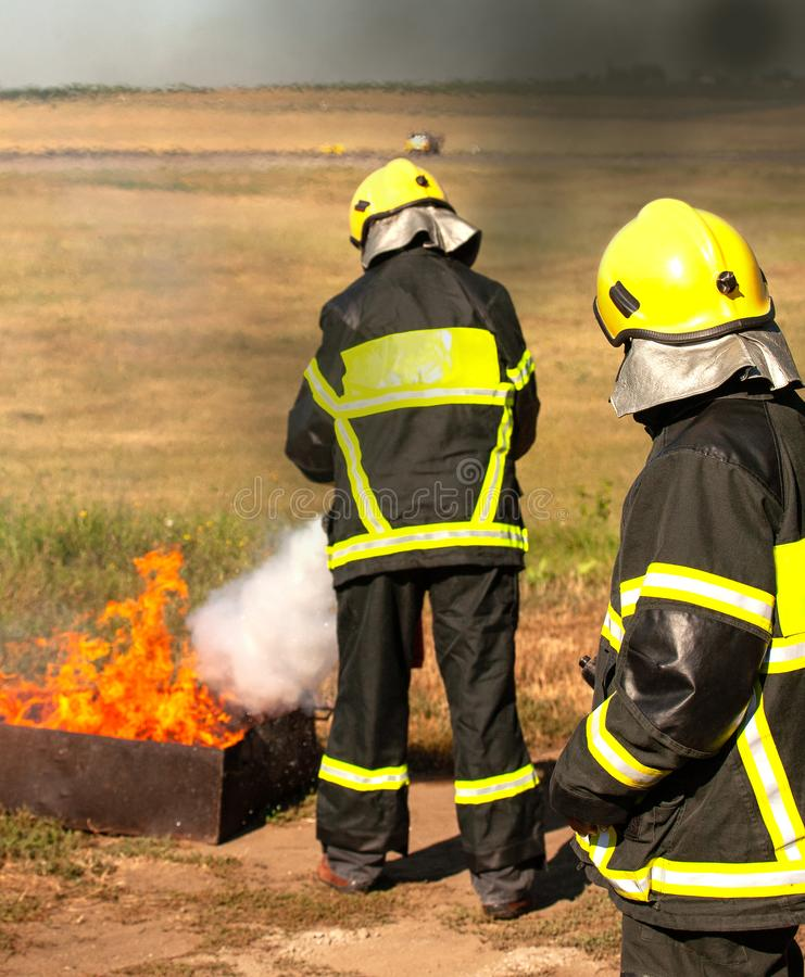 Instructor on a training fire royalty free stock images