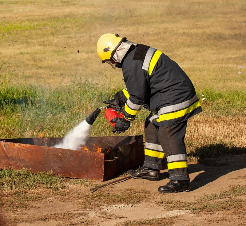 Instructor on a training fire stock photo