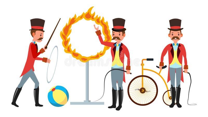Instructor Vector del circo Parque de atracciones Bigote, capa roja, cilindro, azote Ejemplo plano aislado del personaje de dibuj ilustración del vector