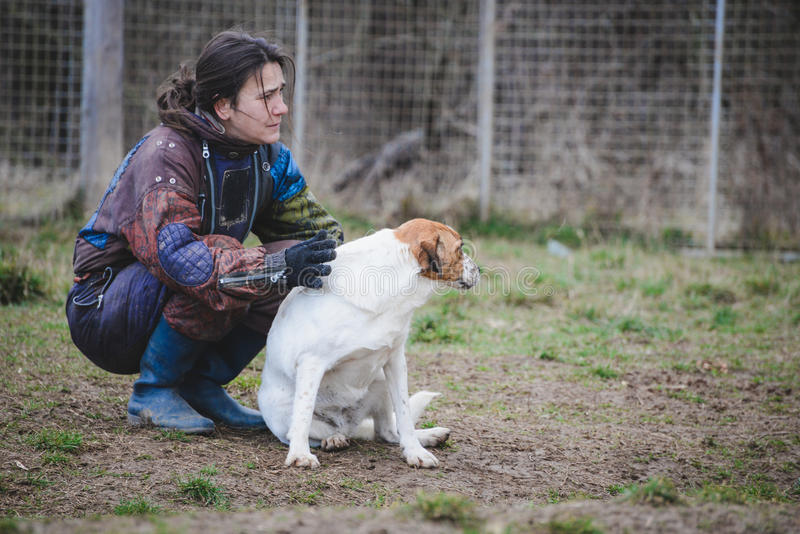 Instructor y su perro en curso de socialización imagenes de archivo
