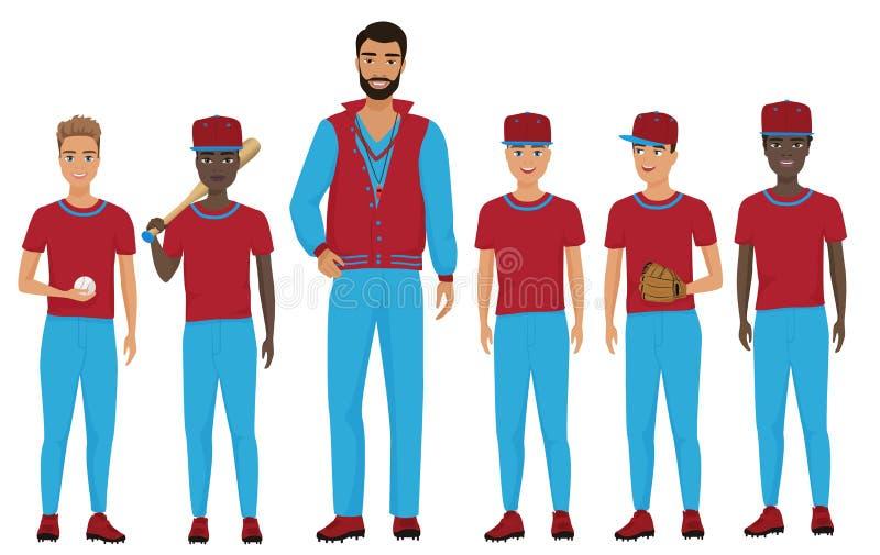 Instruisez l'équipe de baseball d'enfants d'enfants avec un entraîneur staing ensemble Illustration de vecteur illustration de vecteur