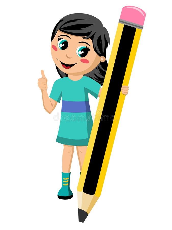 Instruisez la fille jugeant le pouce géant de crayon d'isolement illustration libre de droits