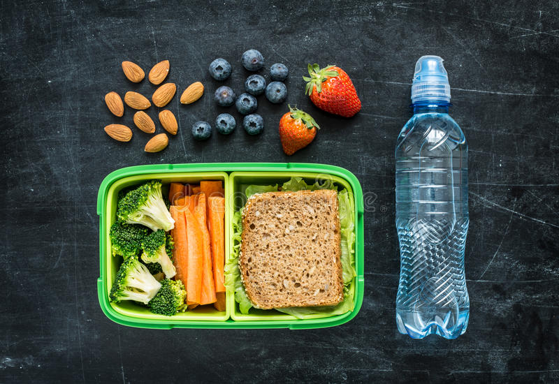 Instruisez la gamelle avec le sandwich, les légumes, l'eau et les fruits image libre de droits