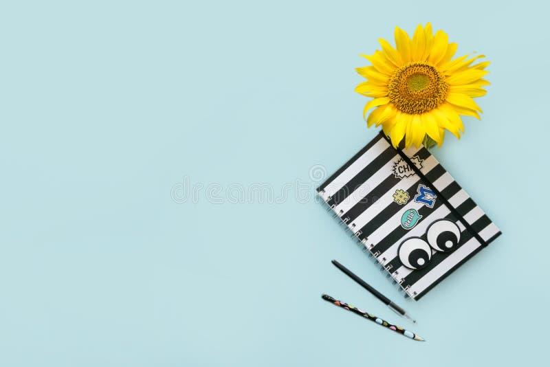 Instruisez le carnet noir et blanc barré par accessoires, stylo, crayon photo libre de droits