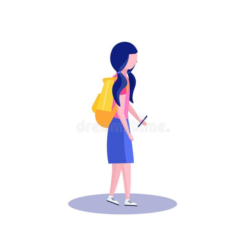 Instruisez le profil de fille d'isolement utilisant l'appartement intégral de personnage de dessin animé femelle de smartphone illustration libre de droits