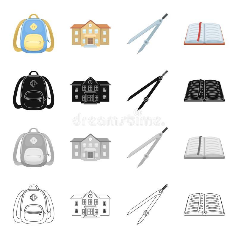 Instruisez le sac à dos, bâtiment d'université, boussoles, livre ouvert L'école et l'étude des icônes réglées de collection dans  illustration stock