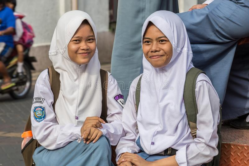 Instruisez les filles à Semarang, Java occidental, Indonésie photos libres de droits