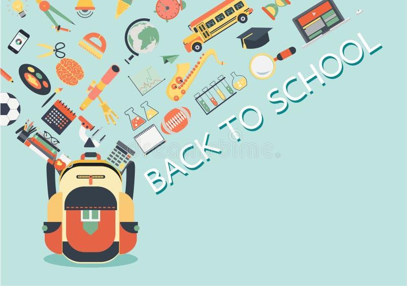 Instruisez les substances coulant dans le sac d'école De nouveau au concept d'école pour le fond, la bannière, l'affiche et l'élé illustration stock
