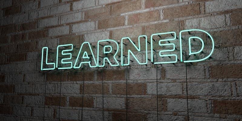 INSTRUIT - Enseigne au néon rougeoyant sur le mur de maçonnerie - 3D a rendu l'illustration courante gratuite de redevance illustration de vecteur
