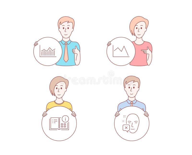 Instrukci informacja, Kreskowa mapa i pieniądze diagram ikony, Twarz obniżający znak wektor ilustracja wektor