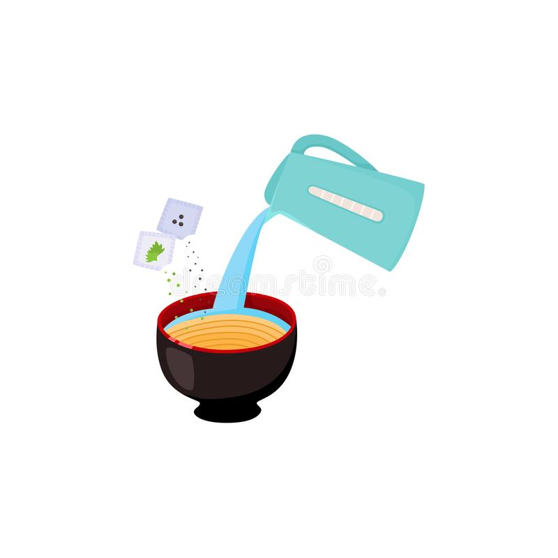 Instrukcja narządzanie kluski z nalewać wrzącą wodę od czajnika w puchar z spaghetti royalty ilustracja