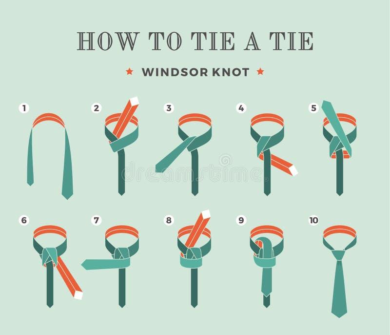 Instrukcje na dlaczego wiązać krawat na turkusowym tle osiem kroków Windsor kępka również zwrócić corel ilustracji wektora ilustracja wektor